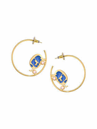 Blue Gold Tone Enameled Hoop Earrings with Rose Quartz