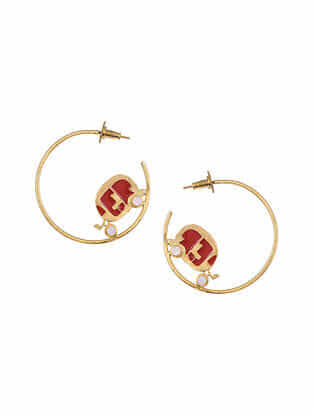 Red Gold Tone Enameled Hoop Earrings with Rose Quartz