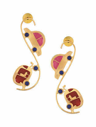 Pink Red Gold Tone Enameled Earrings with Lapis Lazuli