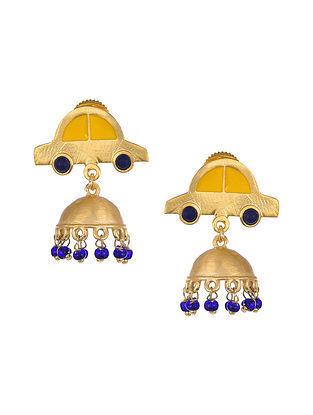 Yellow Gold Tone Enameled Jhumki Earrings with Lapis Lazuli