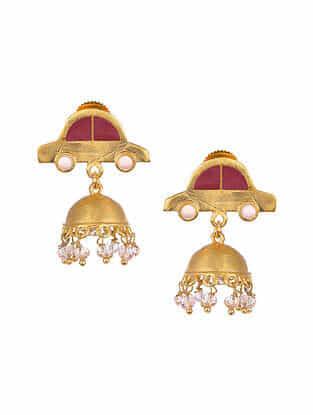 Pink Gold Tone Enameled Jhumki Earrings with Rose Quartz