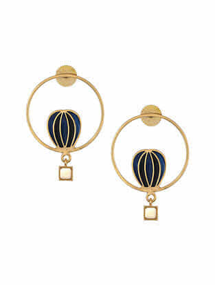Black Blue Gold Tone Enameled Earrings with Citrine