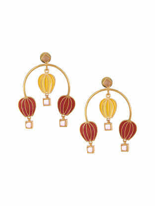 Yellow Red Gold Tone Enameled Earrings with Rose Quartz