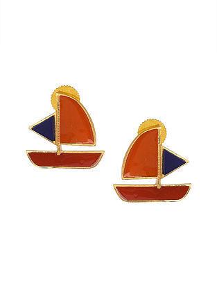 Orange Red Gold Tone Enameled Earrings with Lapis Lazuli