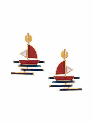 Red Blue Gold Tone Enameled Earrings with Mother of Pearl