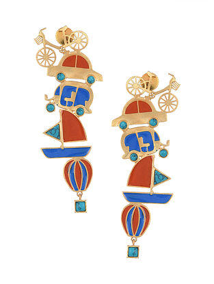 Red Blue Gold Tone Enameled Earrings With Turquoise