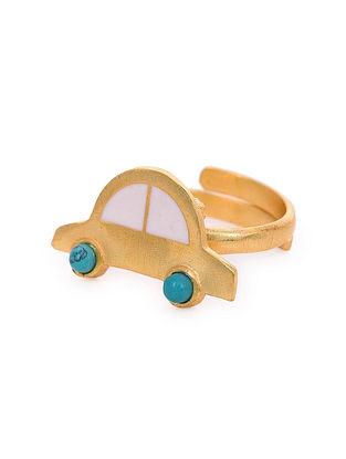 White Gold Tone Enameled Ring With Turquoise