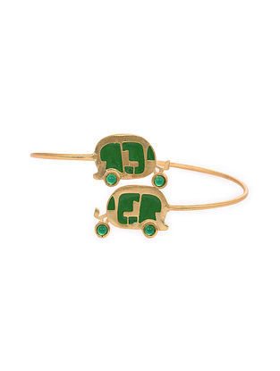 Green Gold Tone Enameled Cuff With Onyx