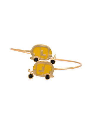 Yellow Gold Tone Enameled Cuff With Onyx