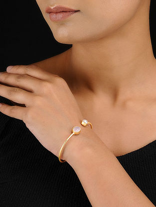 Pink-White Gold Tone Adjustable Brass Cuff