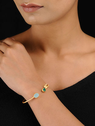 Turquoise-Green Gold Tone Adjustable Brass Cuff