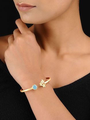 Turquoise Gold Tone Adjustable Brass Cuff