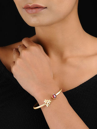 Red Gold Tone Adjustable Brass Cuff