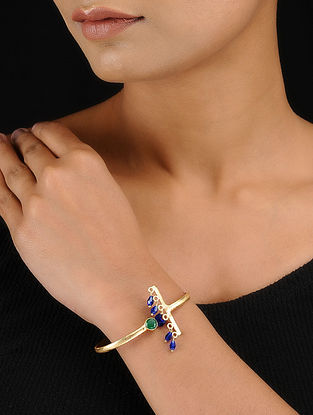 Green-Blue Gold Tone Adjustable Brass Cuff with Beads