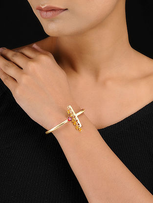 Red-Yellow Gold Tone Adjustable Brass Cuff with Beads