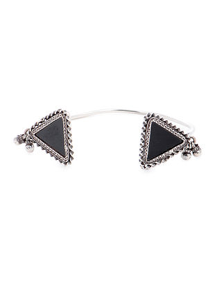 Black Glass Tribal Silver Cuff