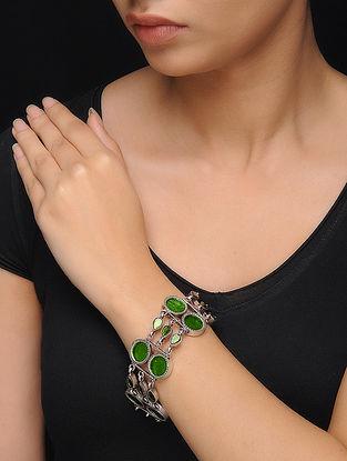 Green Glass Silver Bracelet