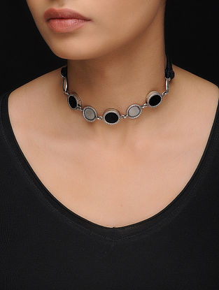 Black Glass Silver Necklace