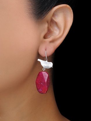 Pink Rhodium-plated Brass Earrings with Baroque Pearl