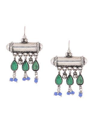 Green-Blue Glass Silver Earrings