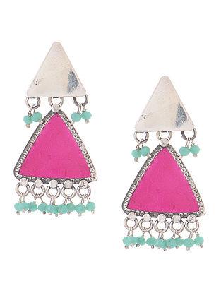 Pink Enameled Silver Earrings