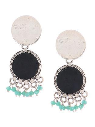 Black Enameled Silver Earrings