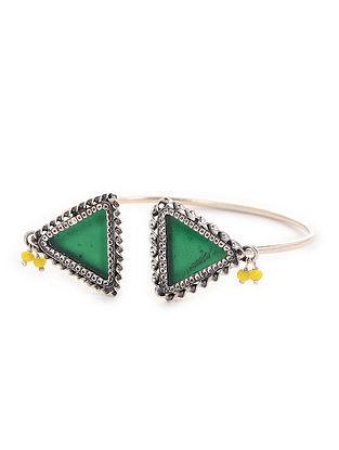 Green Enameled Silver Cuff