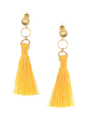 White-Yellow Gold Tone Brass Earrings with Tassel