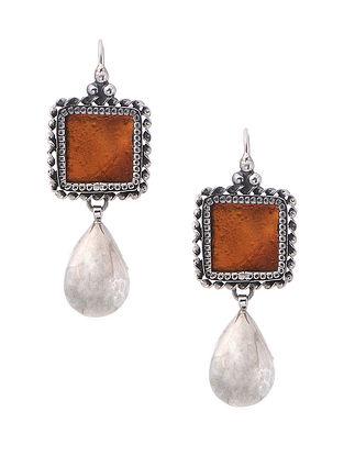 Rust Enameled Glass Silver Earrings