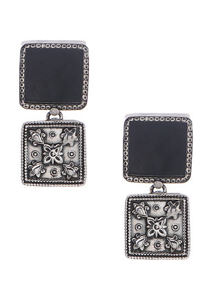 Black Enameled Glass Silver Earrings with Floral Motif
