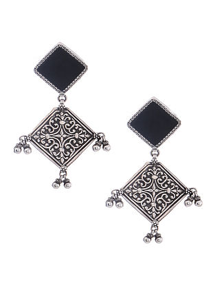 Black Enameled Glass Silver Earrings