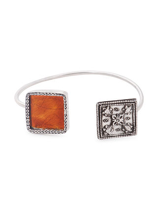 Orange Enameled Glass Silver Cuff with Floral Motif