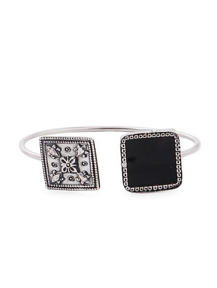 Black Enameled Glass Silver Cuff with Floral Motif