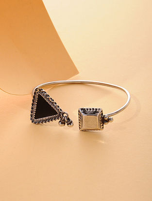 Black Enameled Glass Silver Cuff