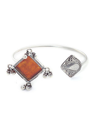Orange Enameled Glass Silver Cuff