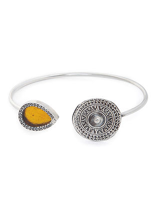 Yellow Enameled Glass Silver Cuff