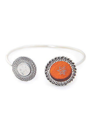 Orange Enameled Glass Silver Cuff with Lotus Motif