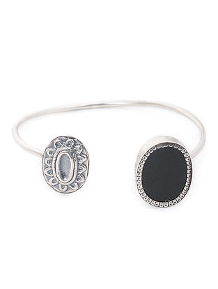 Black Enameled Glass Silver Cuff
