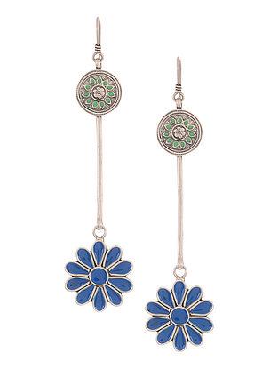 Blue-Green Enameled Silver Earrings