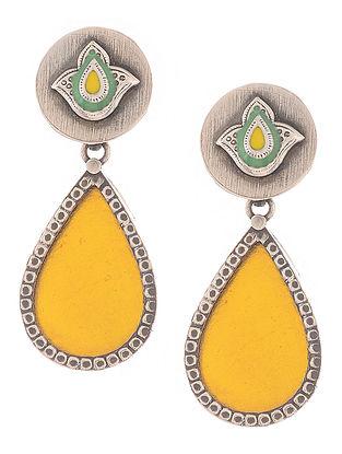 Yellow-Green Enameled Silver Earrings