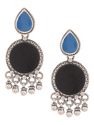 Black-Blue Enameled Silver Earrings