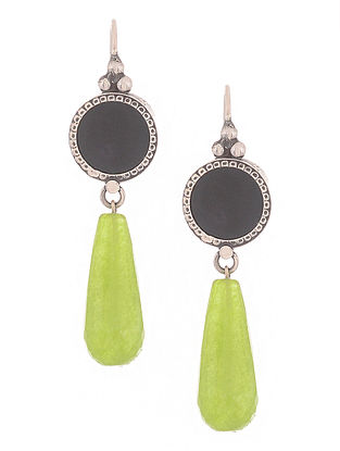 Black-Green Silver Earrings