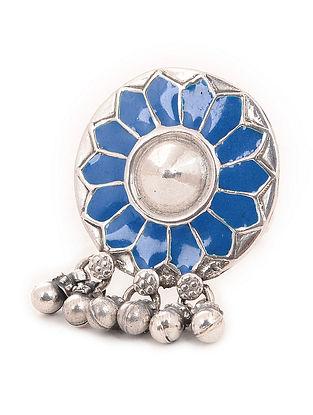 Blue Enameled Adjustable Silver Ring