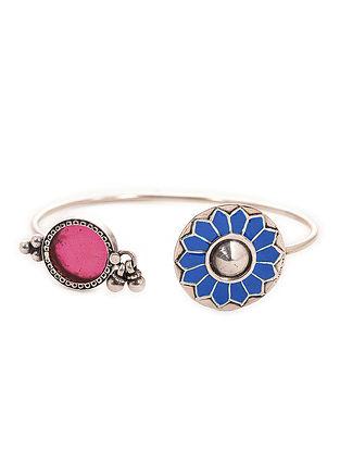 Blue-Pink Enameled Adjustable Silver Cuff