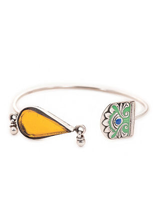 Green-Yellow Enameled Adjustable Silver Cuff