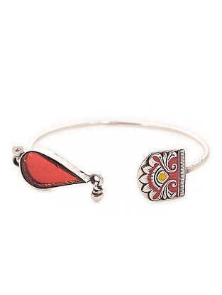 Red Enameled Adjustable Silver Cuff