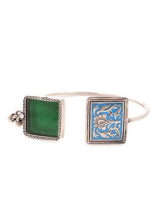 Green-Blue Enameled Adjustable Silver Cuff