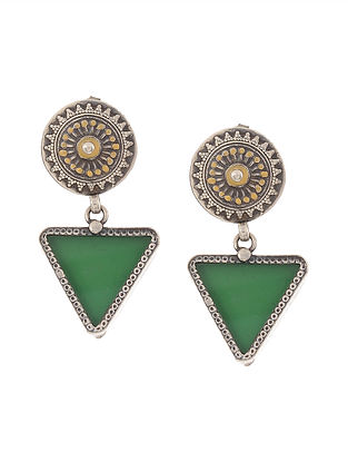 Green-Yellow Enameled Glass Silver Earrings