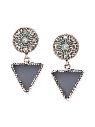 Blue Enameled Glass Silver Earrings