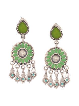 Green-Turquoise Enameled Glass Silver Earrings